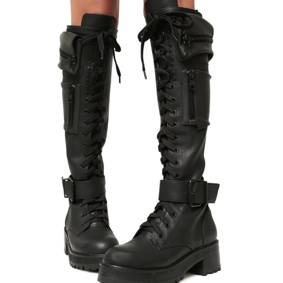 65f317626 Dolls Kill Shoes - Obsidian Pocket Combat Boots by Current Mood